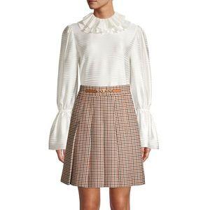 Tory Burch Pleated Check Mini Skirt